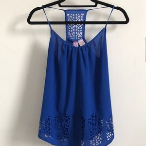 Love on a Hanger Blue Cut Out Strappy Tank